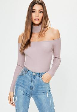 Petite Purple Ribbed Choker Neck Cropped Jumper