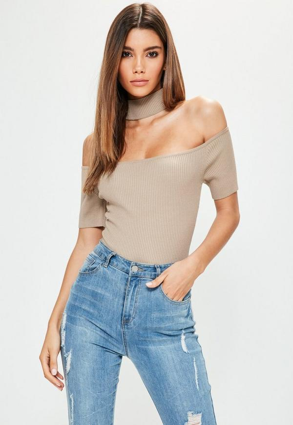 Petite Camel Choker Ribbed Knitted Bodysuit