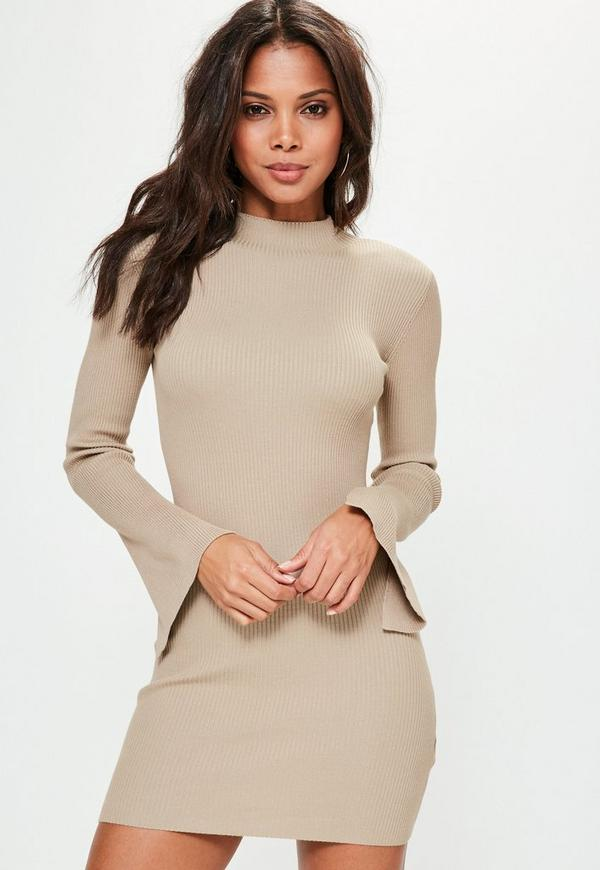 Petite Camel Extreme Sleeve Knitted Jumper Dress