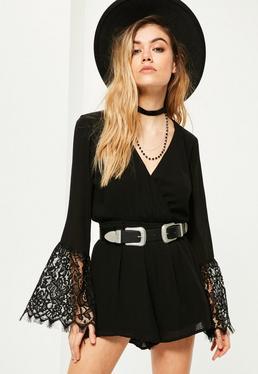Petite Black Lace Sleeve Playsuit