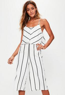 Petite White Stripe Double Layer Cullotes Jumpsuit