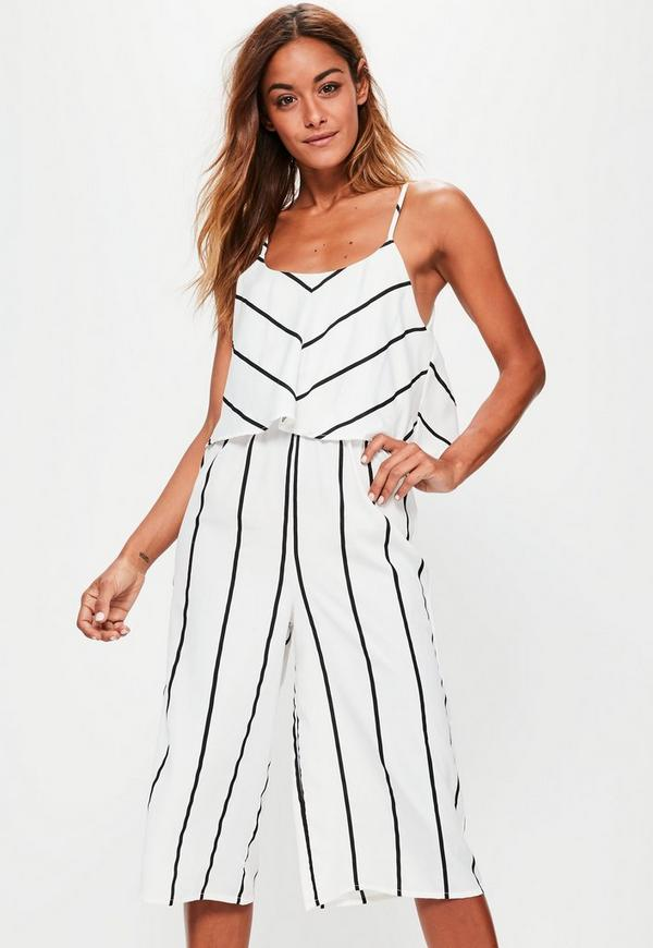 Petite White Stripe Double Layer Culottes Jumpsuit