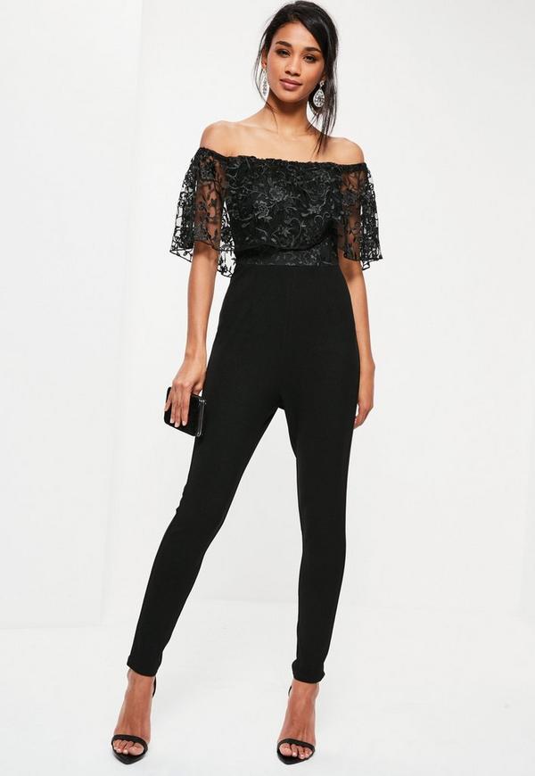Petite Black Floral Lace Top Bardot Jumpsuit