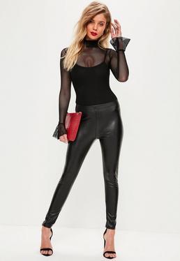 Petite Black Faux Leather Leggings