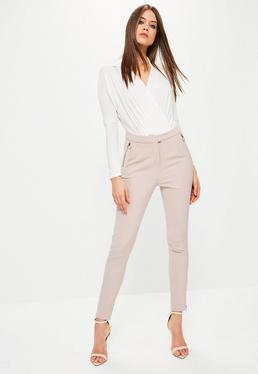 Petite Nude Ring Zip Detail Cigarette Trousers