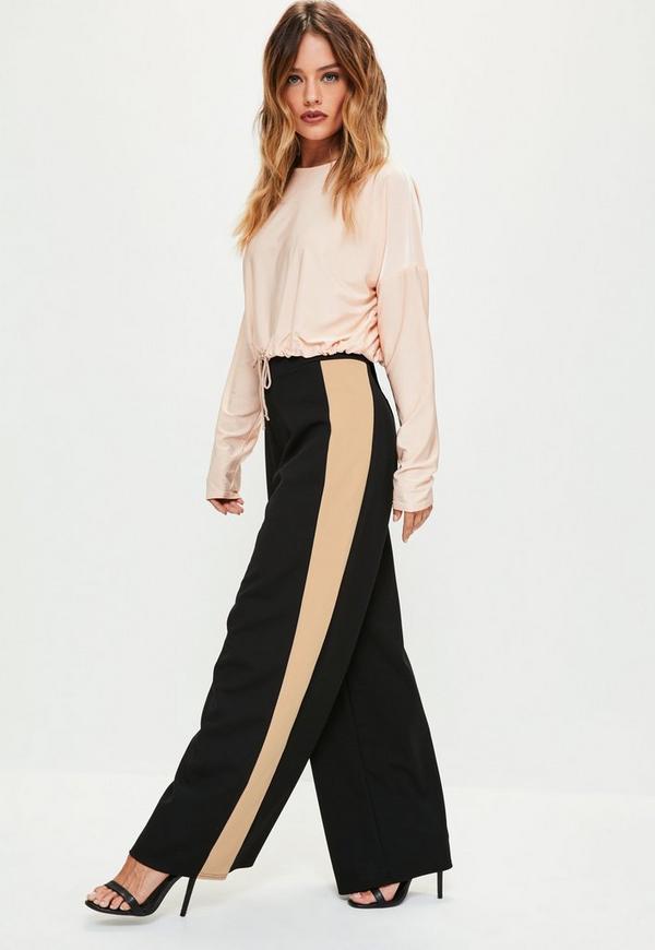 Petite Black Stripe Panel Wide Leg Trousers