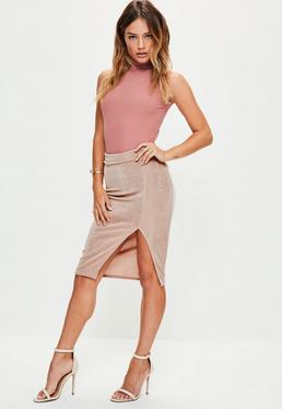 Petite Pink Slinky Split Midi Skirt