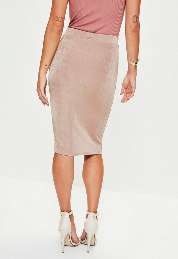 pink slinky split midi skirt missguided