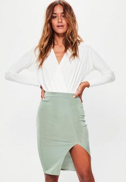 Petite Green Slinky Thigh Split Midi Skirt