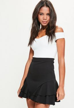 Petite Black Scuba Frill Side Mini Skirt