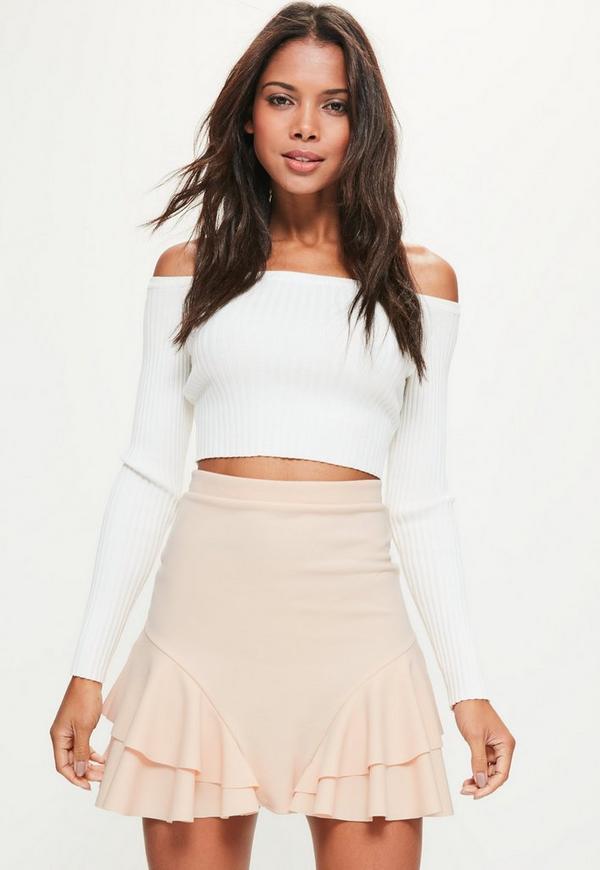 Petite Nude Scuba Frill Side Mini Skirt