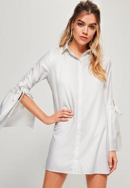 Petite White Tie Sleeve Shirt Dress