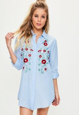 Petite Blue Pinstripe Embroidered Shirt Dress