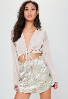 Petite Nude Satin Embroidered Mini Skirt