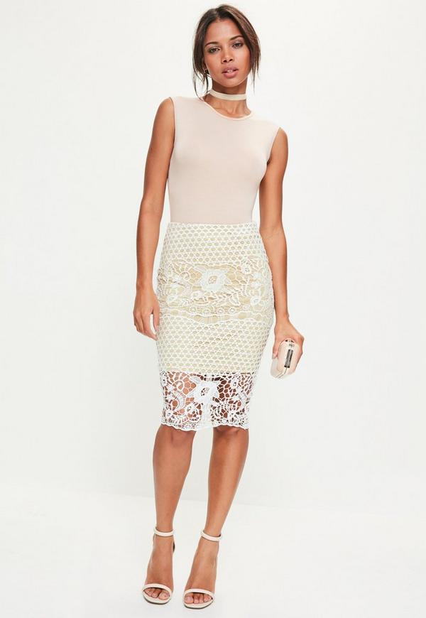 Petite Premium White Lace Midi Skirt | Missguided