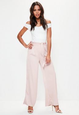 Różowe satynowe spodnie z szerokimi nogawkami petite