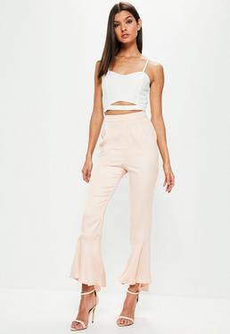 Petite Premium Pink Satin Soft Frill Hem Trousers