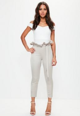 Petite Grey Satin Paperbag Waist Cigarette Trousers