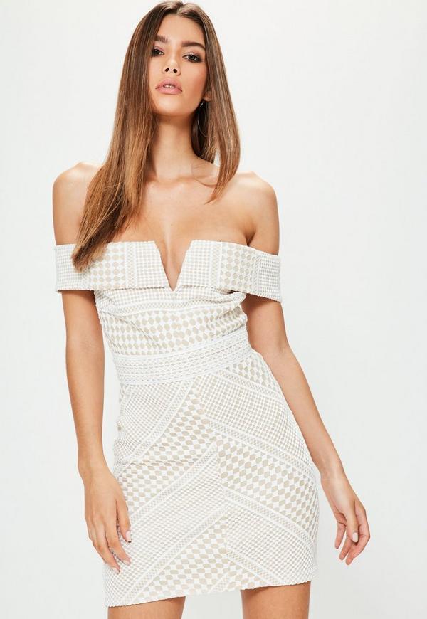 Petite White Lace Bardot Mini Dress