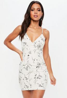 Petite White Floral Print Strappy Bodycon Dress