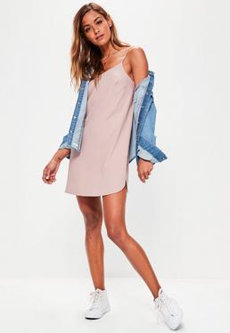 Petite Pink Crepe Shift Dress