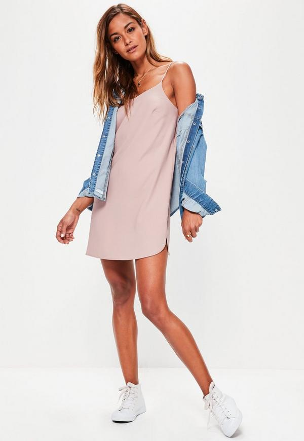 Petite Pink Crepe Shift Dress