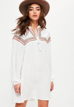 Petite White Oversized Embroidered Yoke Swing Dress
