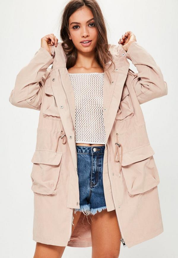 Petite Pink Oversized Pocket Detail Parka Coat