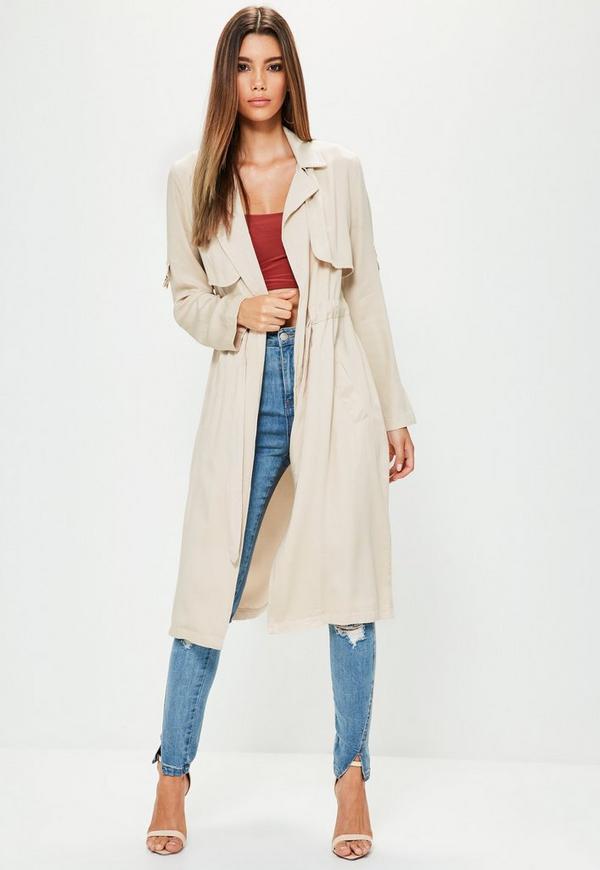 Petite Grey Draw Cord Trench Coat