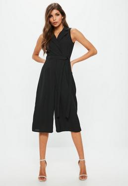 Petite Black Tuxedo Sleeveless Wrap Jumpsuit