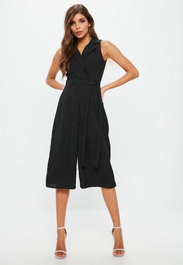 petite black tuxedo sleeveless wrap jumpsuit missguided. Black Bedroom Furniture Sets. Home Design Ideas
