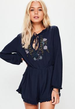 Petite Navy Embroidered Cheesecloth Romper