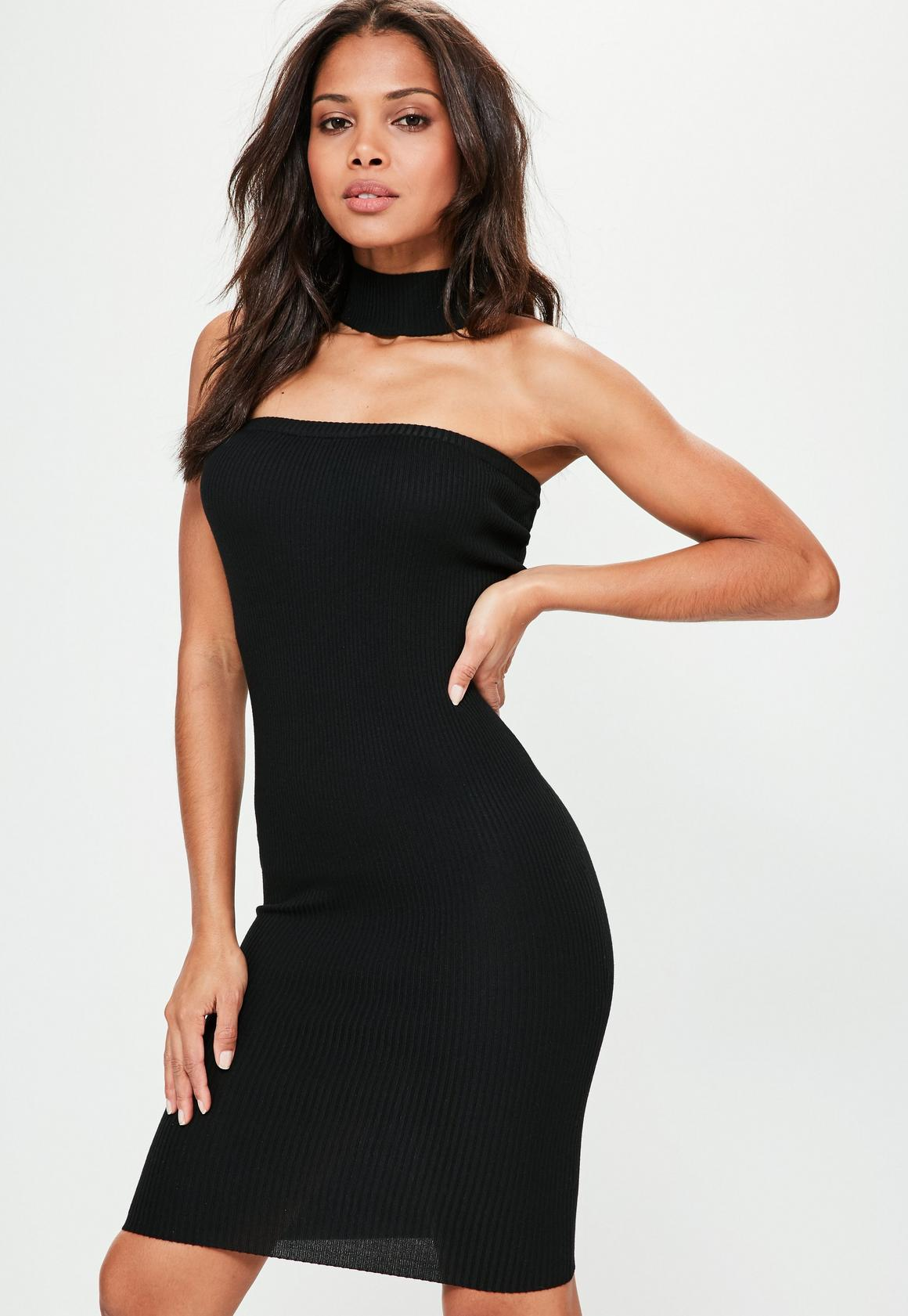 Petite Black Bandeau Choker Neck Sweater Dress | Missguided