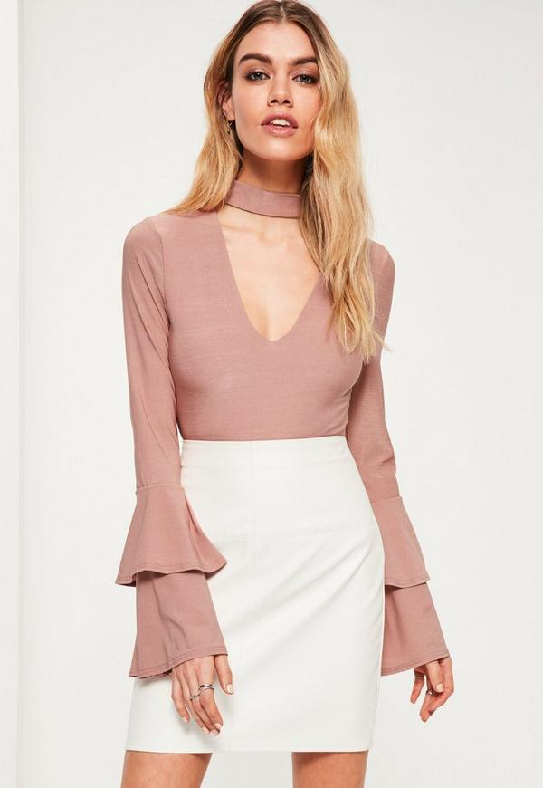 Petite Nude Choker Neck Layered Sleeve Bodysuit