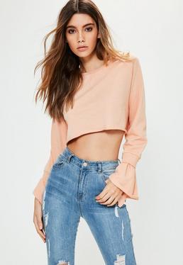 Petite Pink Double Frill Cuff Cropped Sweatshirt
