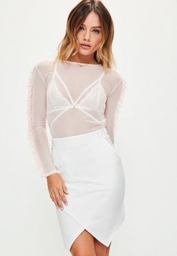 Mini-jupe blanche à bordure asymétrique Petite