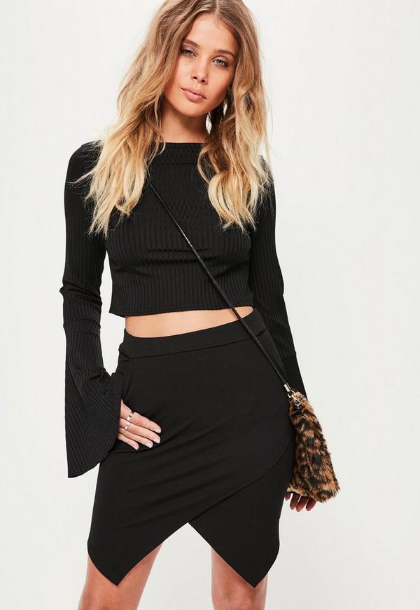 Petite Black Asymmetric Hem Mini Skirt