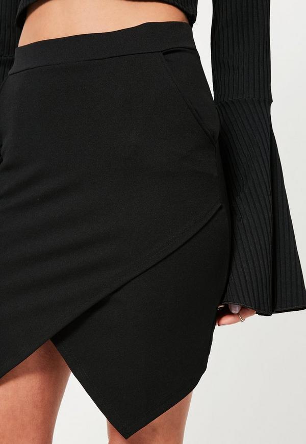 5b8292143 Petite Black Asymmetric Hem Mini Skirt. Was €21.00. Now €7.00 (70% off).  Previous Next
