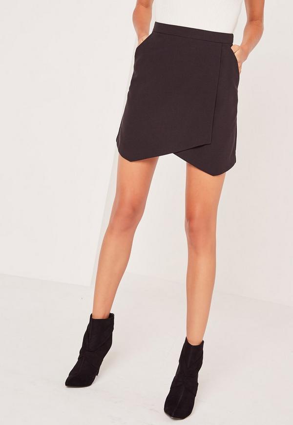 dfbc29b89 ... Petite Black Asymmetric Hem Mini Skirt. Previous Next