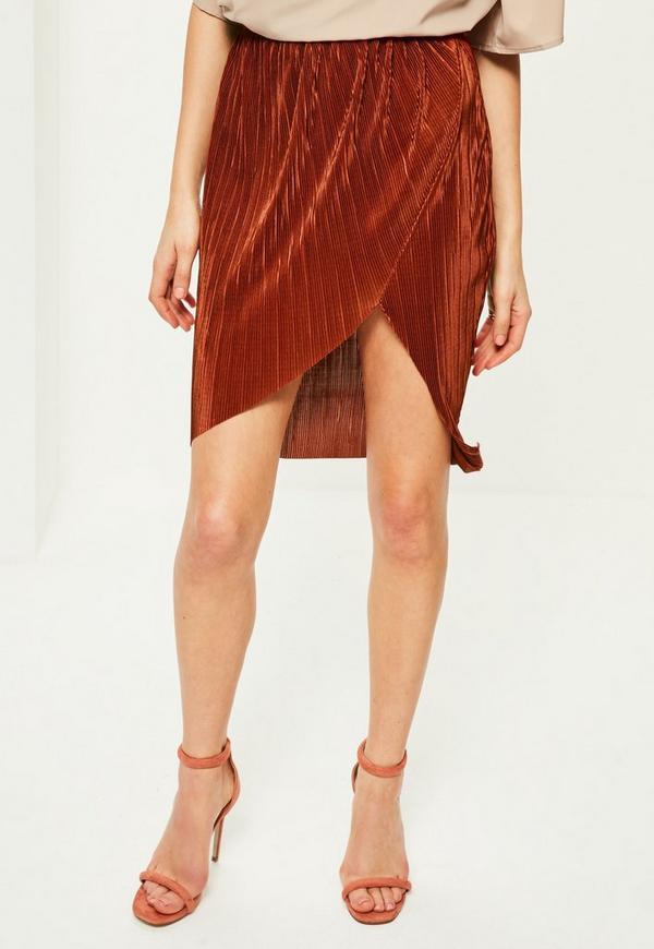 Petite Orange Pleated Midi Skirt | Missguided