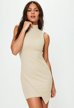 Petite Exclusive Beige Sleeveless Asymmetric Dress