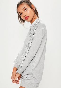 Petite Grey Frill Sleeve Sweater Dress