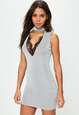 Petite Exclusive Grey Slinky Choker Neck Dress
