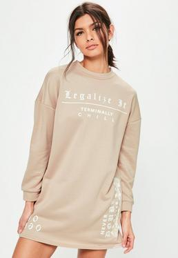 Petite Nude Slogan Oversized Sweater Dress