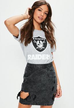 Petite Black Open Rip Denim Mini Skirt