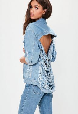 Jasnoniebieska jeansowa kurtka katana z rozprutymi plecami Petite