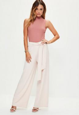 Petite Exclusive Nude Ribbed Belted Wide Leg Trousers