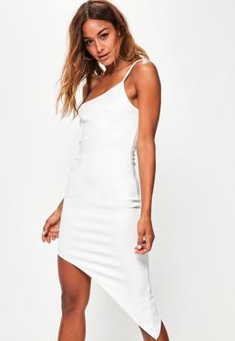 Petite White One Strap Asymmetrical Dress