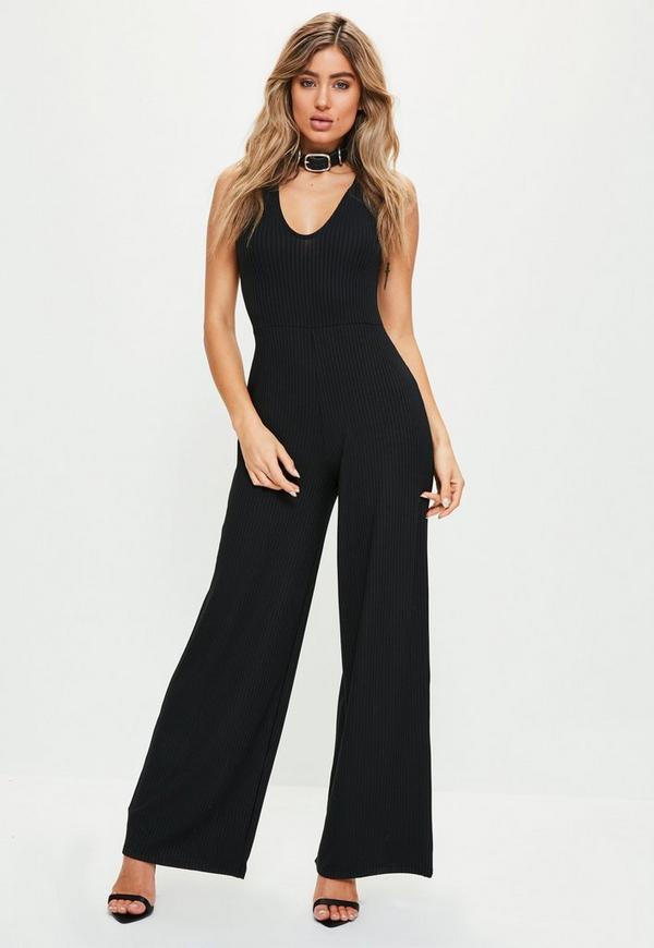Petite Exclusive Black Sleeveless Ribbed Jumpsuit
