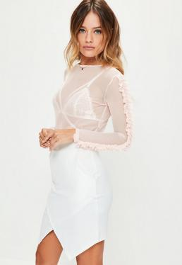 Petite Exclusive Pink Mesh Frill Sleeve Top